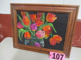 Spring Tulip oil on canvas, framed, 20in x 16in, artist Isabel Culbertson 2