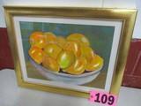 Orange Bowl, watercolor, framed, 16in x 20in, artist Isabel Culbertson 2003
