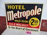 Hotel Metropole metal sign, Cincinati, OH, 30in x 24in