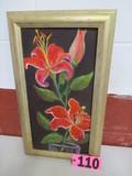 Tiger Lillys orange oil on canvas, framed, 23.5in x 13in, artist Isabel Cul