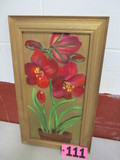 Tiger Lillys red oil on canvas, framed, 23.5in x 13in, artist signed  Isabe