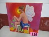 Nude Fairy oil on canvas, unframed, 20in x 20in, artist Isabel Culbertson