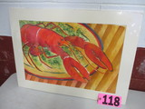 Lobster watercolor, matted,  19in x 26in, artist signed Isabel Culbertson 2
