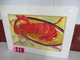Lobster watercolor, matted,  17in x 23in, artist signed Isabel Culbertson 2