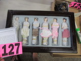 Ornament set of porcelain dolls in wood display box