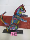 Decorative multi colored wood cat statue