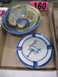 Ayers pottery bowl & Stork Club ashtray