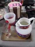 Ceramic water pitcher, 2 wine glasses, wooden USA Uncle Sam Hat