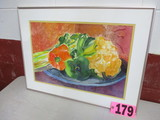 Vegetables water color, framed, under glass & matted, 20in x 27in, artist s