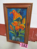 Tiger Lillys oil on canvas, framed, 24in x 14in, artist Isabel Culbertson