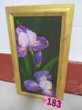 Purple Iris oil canvas, framed, 24in x 14in, artist Isabel Culbertson
