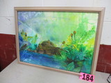 Turtles in the Swan watercolor, framed, under glass,  24in x 32in, artist s