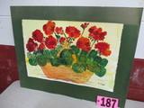 Geraniums basket watercolor, 22in x 15in, artist sign I-Bel