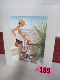 Painting on the Beach watercolor, 16in x 20in, matted