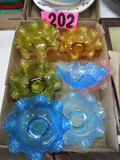 (11) Pressed glass candy dishes