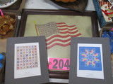 Framed fabric USA flag and (3) Quilt pictures