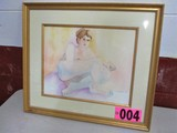 Female Nude, 22in x 25.5in, framed, matted, under glass, artist signed Isab