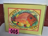 Fish Plate, 13.5in x 17in, watercolor, framed, mated, underglass, artist si