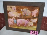 Bunch Pigs, oil on canvas, framed, 16in x 20in, artist signed Isabel Culber