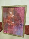 Female portrait Watercolor, framed, under glass,  24in x 31in, artist Taylo