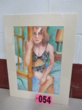 Watercolor matted,  bedroom woman,  artist signed Isabel Culbertson 2003