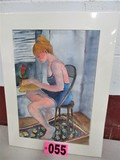 Woman reading watercolor, matted, 26in x 19in, artist signed Isabel Culbert
