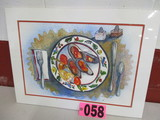 Oysters on the Half Shell watercolor, matted, 24in x 18in, artist signed Is