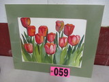 Tulips watercolor, matted,  20in x 16in,  artist signed Isabel Culbertson 1