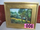 Wood scene watercolor, 14in x 16in, framed, under glass, artist signed Isab