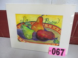 Pears watercolor, matted,  18in x 14in, artist signed Isabel Culbertson 200