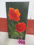 Peony flower mounted oil on canvas, 20in x 10in