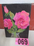 Peony flower mounted oil on canvas, 12in x 9in