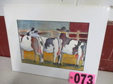 Dairy Cow watercolor, matted, 18in x 14in, artist signed Isabel Culebrtson