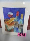 Wine & Bread watercolor, matted, 18in x 15in, artist Isabel Culbertson