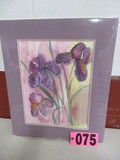 Purple Iris watercolor, matted, 20in x 17in, artist signed Isabel Culbertso