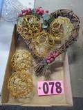 Gold ornaments & heart vine