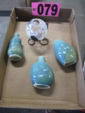 4 pc.: (1)  Applied painted rosebowl & 3 pottery bottles
