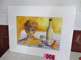 Bust & bottle watercolor, 19.5in x 13.5in, mounted, artist signed Isabel Cu