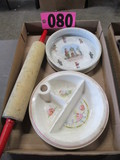 (2)Childs baby dishes & rolling pin