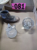 Crystal paperweight, cruit, & baby shoe