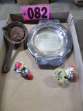 Wax ladle, Mickey Mouse engraved silver plated dish, & (2) Dwarfs