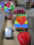 Childrens eraser & pencils, tins, & apple