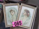 (2) Vintage bridal prints framed