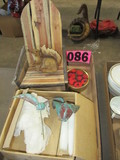 Miniature Adirondack chair, copper lilly candle holders & squirrel