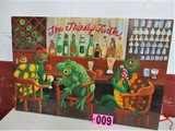 Thirsty Turtle oil on canvas, 36in x 24in, mounted, artist signed Isabel Cu
