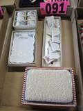 Ceramic handpainted napkin rings, menu holder, & place card holders