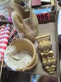 Paper Mache swan, basket, & decorative shelf