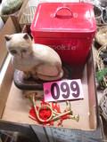 Cookie tin, decorative wood cat & ornaments