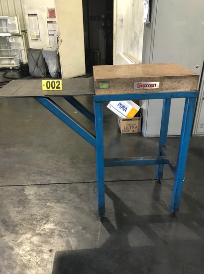 Starrett surface plate 18in x 2ft, w/ stand