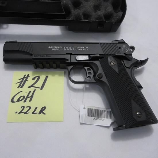 Colt Govt. model 22, semi auto, hand gun w/case, Colt Rail gun-unfired?